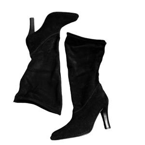Hot in Hollywood Hi Lo Black Suede Boots